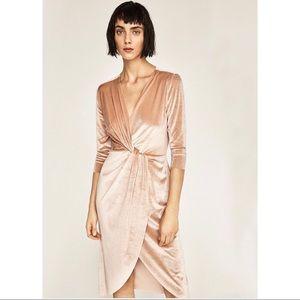 Zara Champagne Velvet Faux Wrap Dress Size Small
